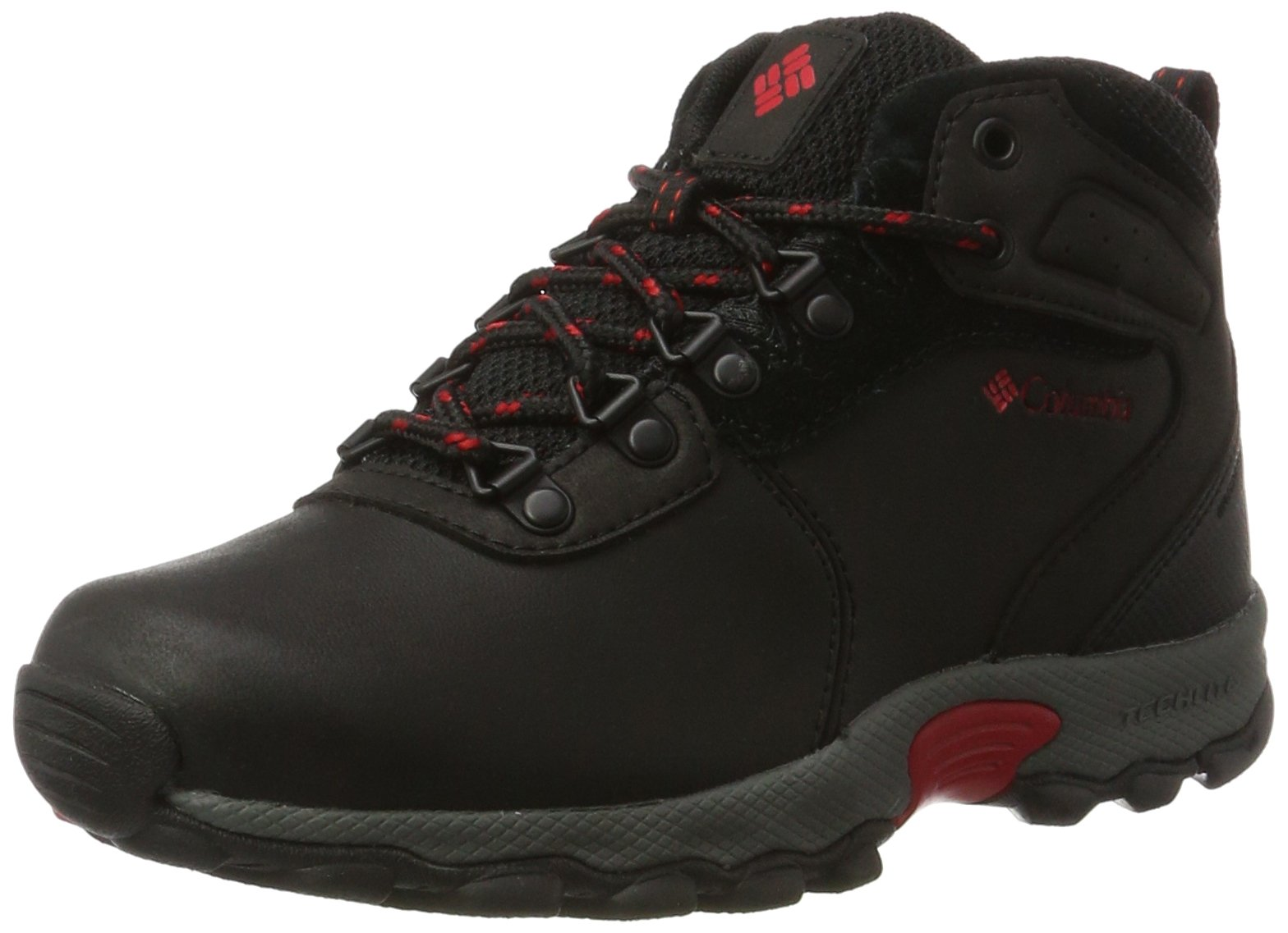 Columbia Unisex Youth Newton Ridge Hiking Shoe, Black, Mountain red, 4 Regular US Big Kid