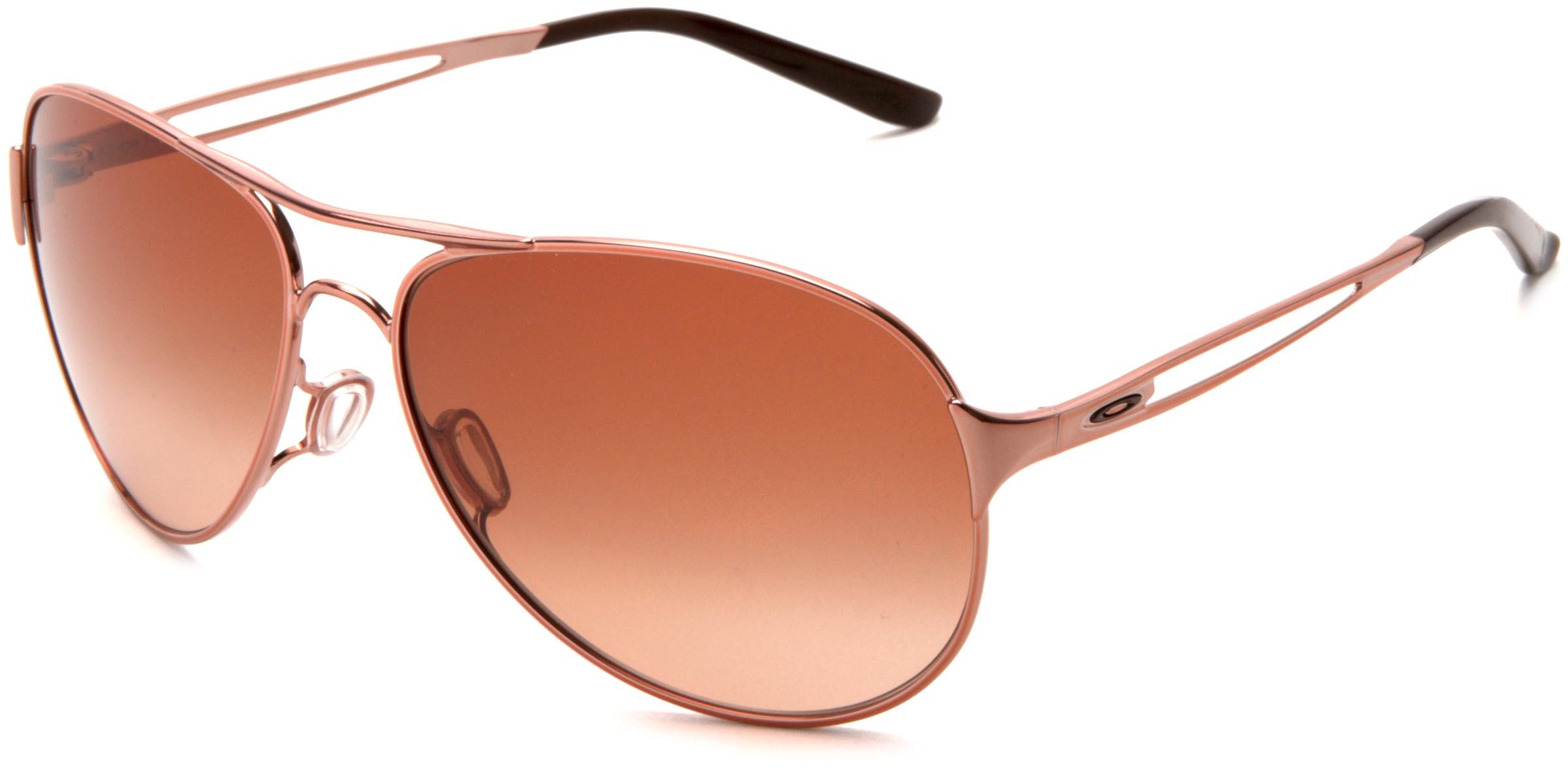 Oakley Women's Caveat Aviator Sunglasses,Rose Gold Frame/Brown Gradient Lens,One Size