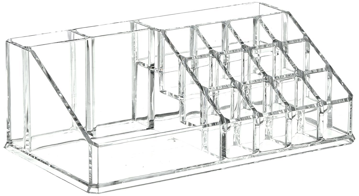 SZJH Premium Beauty Cosmetic and Lipstick Organiser Display Stand - Clear Acrylic - Great for Storing Nail Polish Varnish, Lipsticks, Makeup sets, Brushes, Jewellery, Earrings