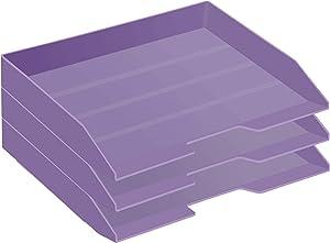 Acrimet Stackable Letter Tray 3 Tier Side Load Plastic Desktop File Organizer (Solid Purple Color)
