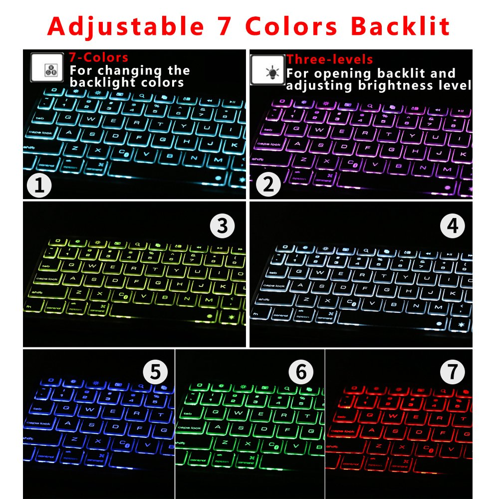 Ipad Pro 9.7 Keyboard Case, NOVT Aluminum Alloy Ultra Thin Smart Bluetooth Wireless Keyboard 7 Color Led Backlit with Protective Case Cover Stand Auto Sleep/Wake for Apple iPad Pro 9.7 Inch (Gold) by NOVT (Image #5)