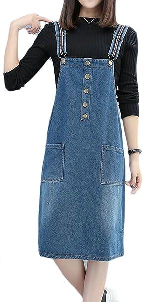 5f455396b2 KLJR-Women Commute Denim Plus Size Overalls Buttons Pockets Skinny Bib Dress  at Amazon Women s Clothing store