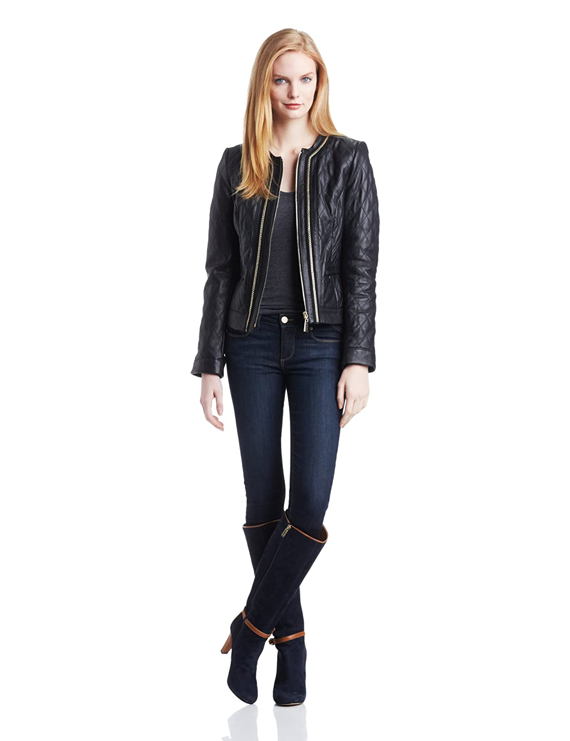 035621fd6 VINCE CAMUTO Women's Quilted Chanel Leather Jacket