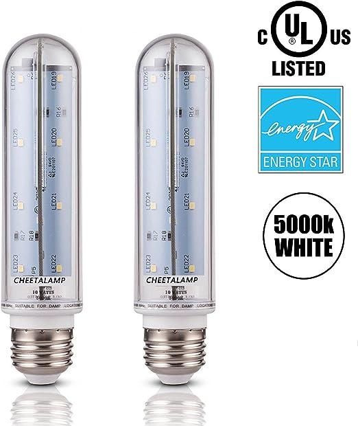 CheetaLamp LED T10 Tubular LED Bulbs Medium Base E26 5000k Bulbs Fridge UL Listed Energy Star 2 Pack