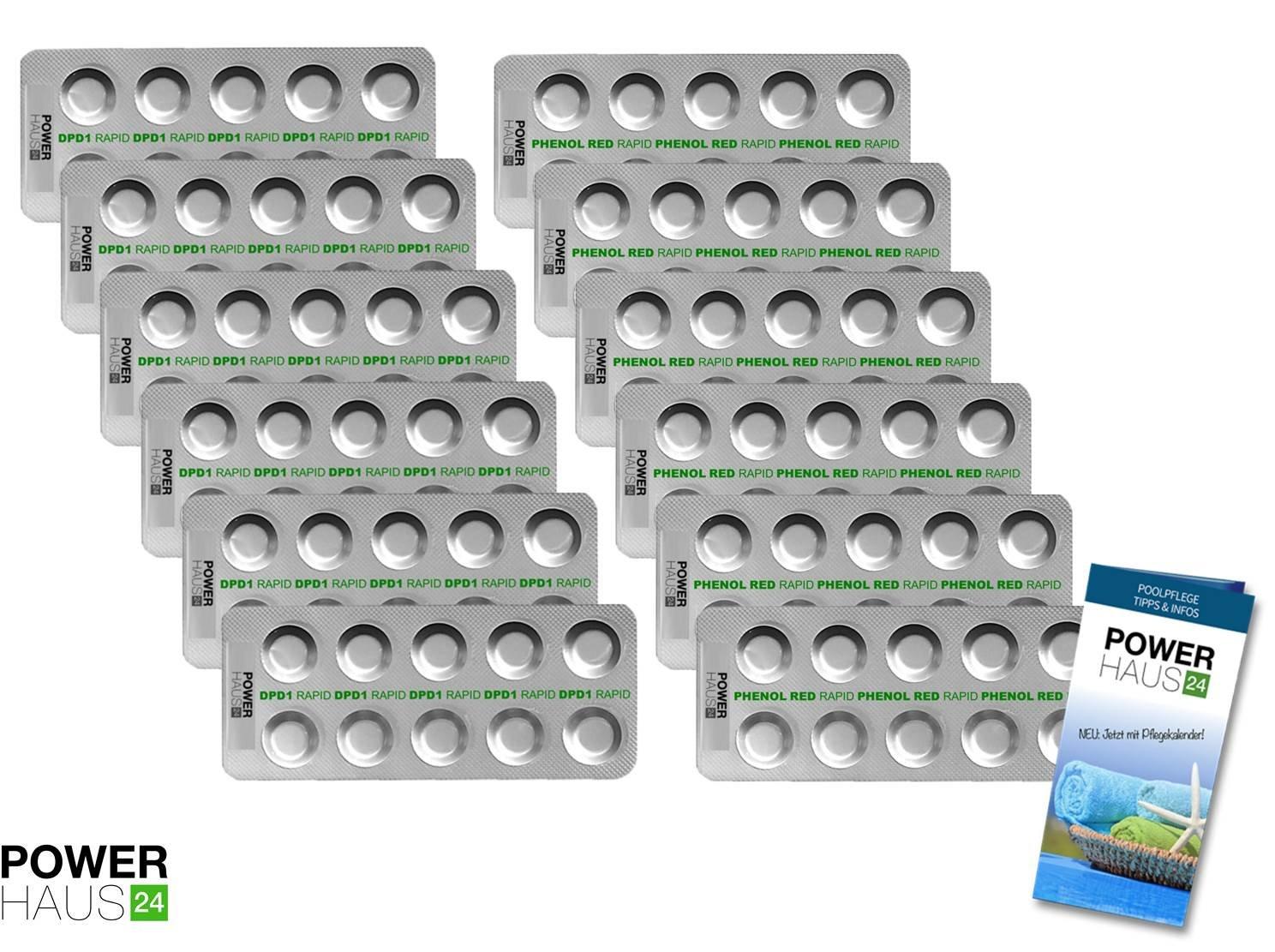 POWERHAUS24 - 120 Tabletten Chlor DPD 1 und pH Phenol Red (12 Streifen) - POWERHAUS24 Pflegefibel!