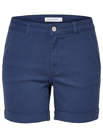 43fd14e637e JDY Ladies Cotton Stretch Turn Up Hem Chino Shorts Blue M: Amazon.co.uk:  Clothing
