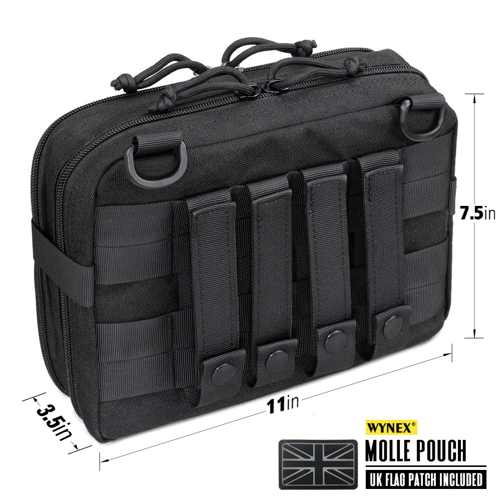 Pouches Utility Military Medical EMT Organizer with Map Pocket UK Patch WYNEX Tactical Molle Admin Pouch of Laser Cut Design