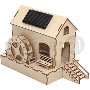 Weico Solar Holzbausatz Wasserm/ühle mit Brunnen Incl. Solarzelle und Motor