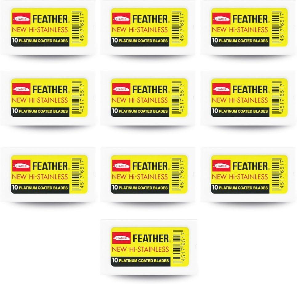100 cuchillas de afeitar Feather New Hi Stainless