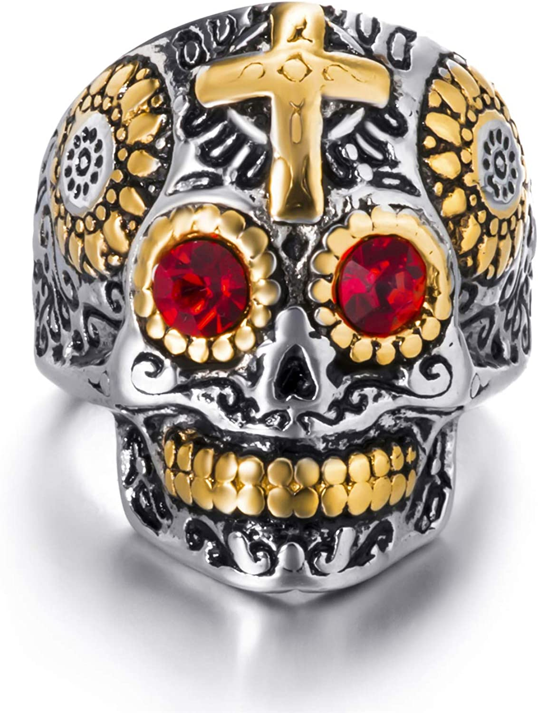 Elfasio Mens Stainless Steel Ring Skull Gothic Cross Red Blue Green Eye Silver Gold Biker Jewelry