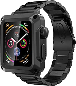 Metal Case for Apple Watch 6 Band 44mm, Stainless Steel Straps Heavy Duty Bumper Case for iwatch Series 6 SE 5 4 Strap Men's Full Protective Cover Tempered Glass Protector (44mm, Black)
