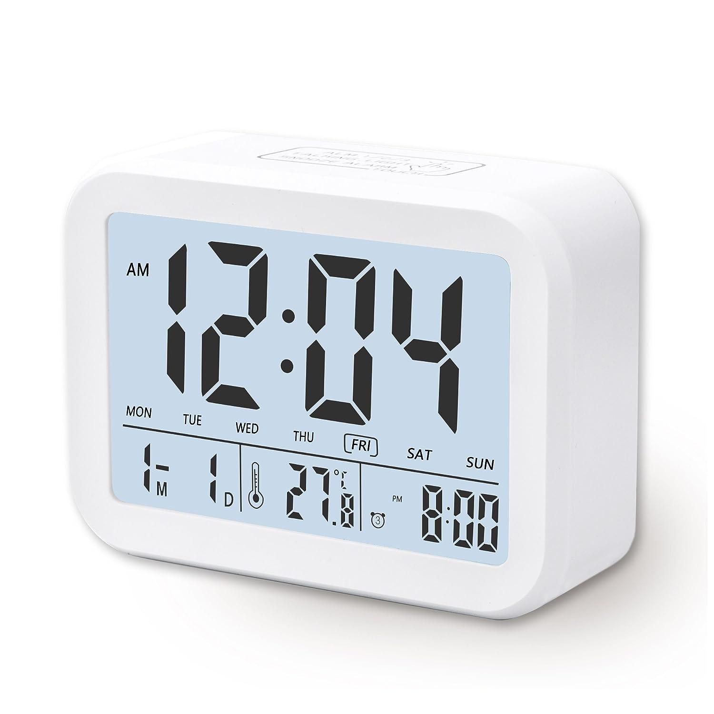 Despertador Digital CompraFun Reloj Despertador con Alarma Luz de Noche Blanco