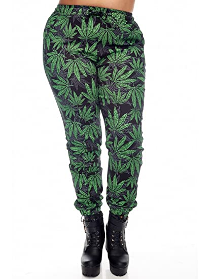 Bazy Womens Ladies Plus Size Marihuana Print Jogger (xl, Grahpic PRINT)