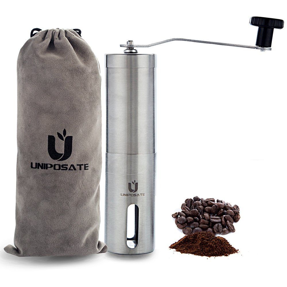 Premium Manual Burr Coffee Grinder - Uniposate Portable Conical Ceramic Burr Spices Mill,Adjustable Settings for any Grind,Bonus Storage Bag and Replacement Part