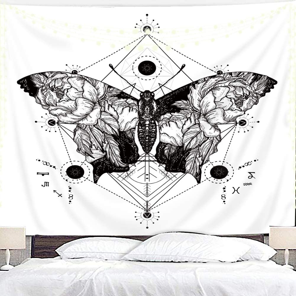 Homewelle Butterfly Black and White Tapestry 59Wx51L Inch Simple Nature Abstract Sketch Insect Psychedelic Art Wall Hanging Bedroom Living Room Dorm Decor Fabric