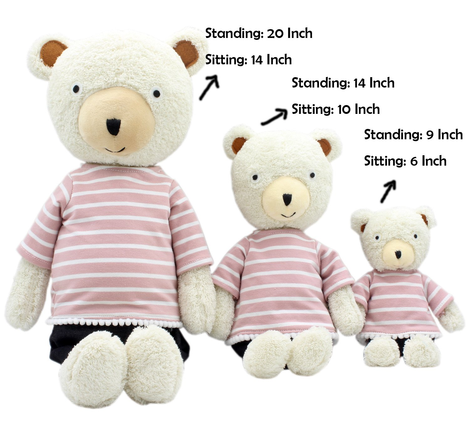 JIARU Stuffed Animals Toys Teddy Bear Plush Dressed Dolls with Removable Clothes Striped Brown, 20 Inch