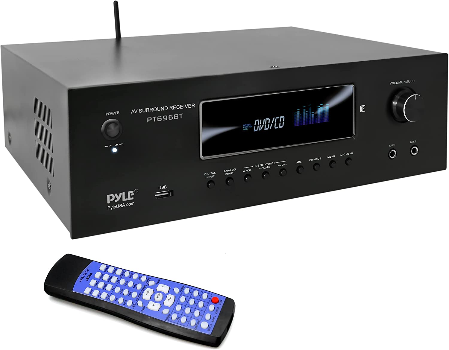 1000W Bluetooth Home Theater Receiver - 5.2-Ch Surround Sound Stereo Amplifier System with 4K Ultra HD, 3D Video & Blu-Ray Video Pass-Through Supports, MP3/USB/AM/FM Radio - Pyle