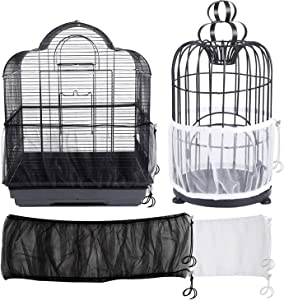 Sirozi 2 Pack Bird Cage Seed Catcher Guard, Universal Parrot Birdcage Cover Soft Airy Mesh Net Stretchy Shell Skirt Cage Basket Pet Product (Black + White)