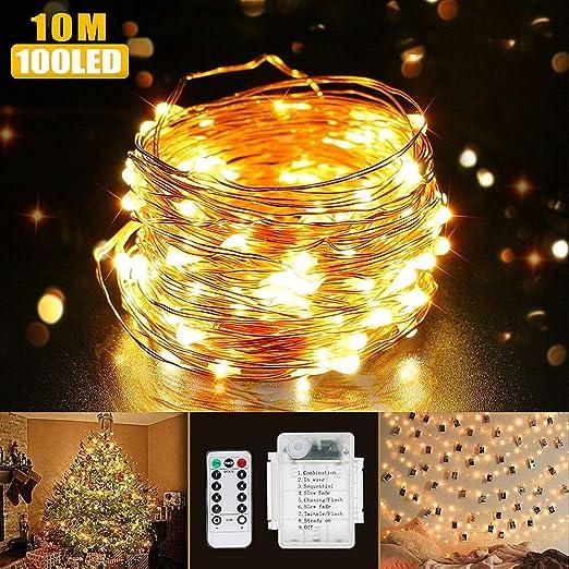 Guirnalda Luces LED Blanco cálido, 10M 100 LED (x 2) Impermeable Cadena de luces, Mando a distancia con 8 modos, Decoración Interior y Exterior para Navidad,Los Reyes Mago, Boda, Fiesta, Balcón: Amazon.es: