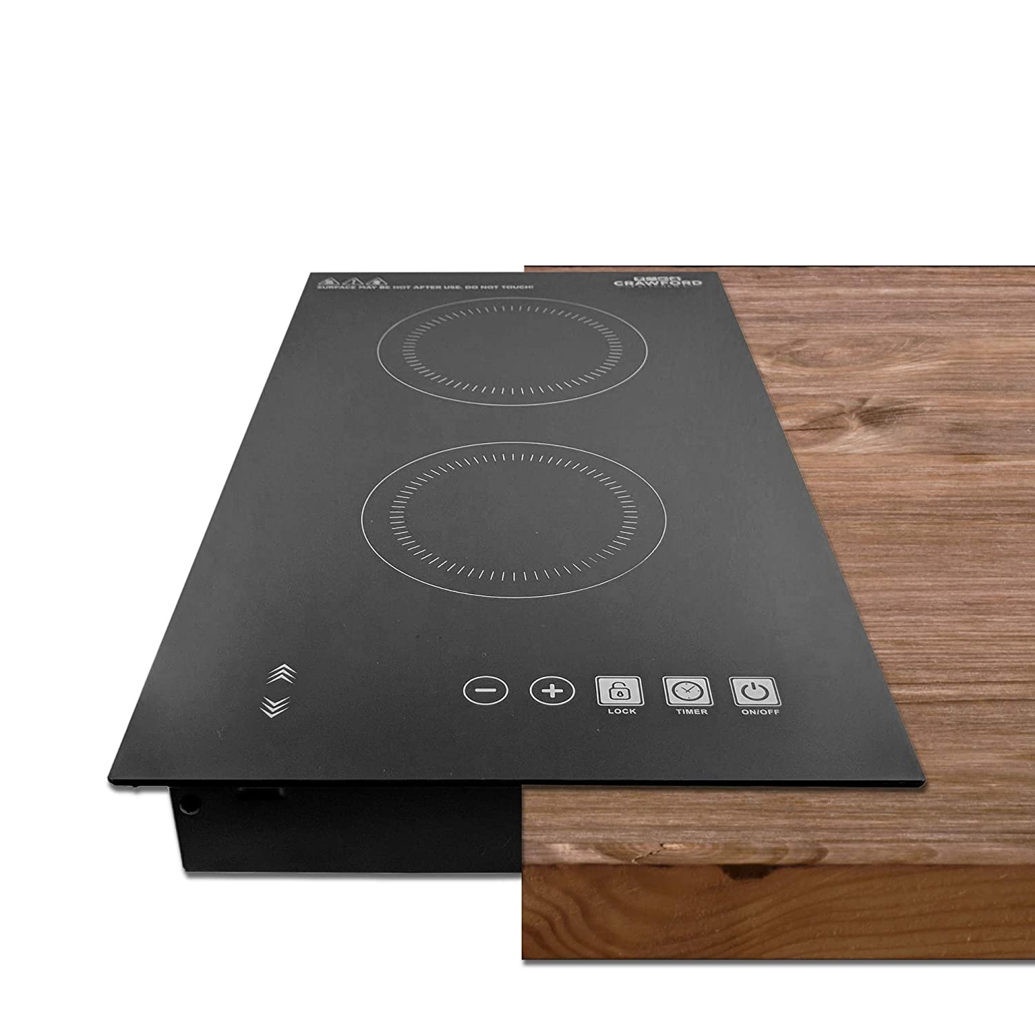 Crawford Kitchen 1800W In-Counter Double Digital Induction Cooktop | Portable Or Built-In Countertop Design | Easy To Clean New Touch Panel Controls (Vertical Double Burner)