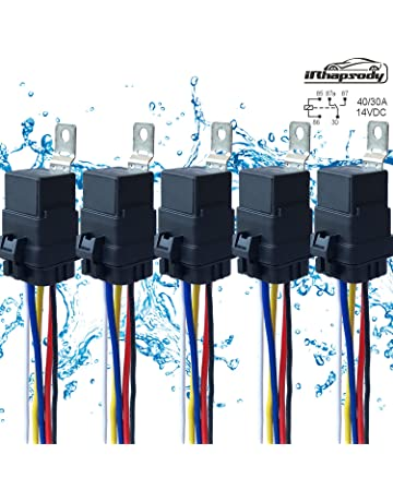 5 PACK 40/30 AMP 12 V DC Waterproof Relay and Harness - Heavy Duty