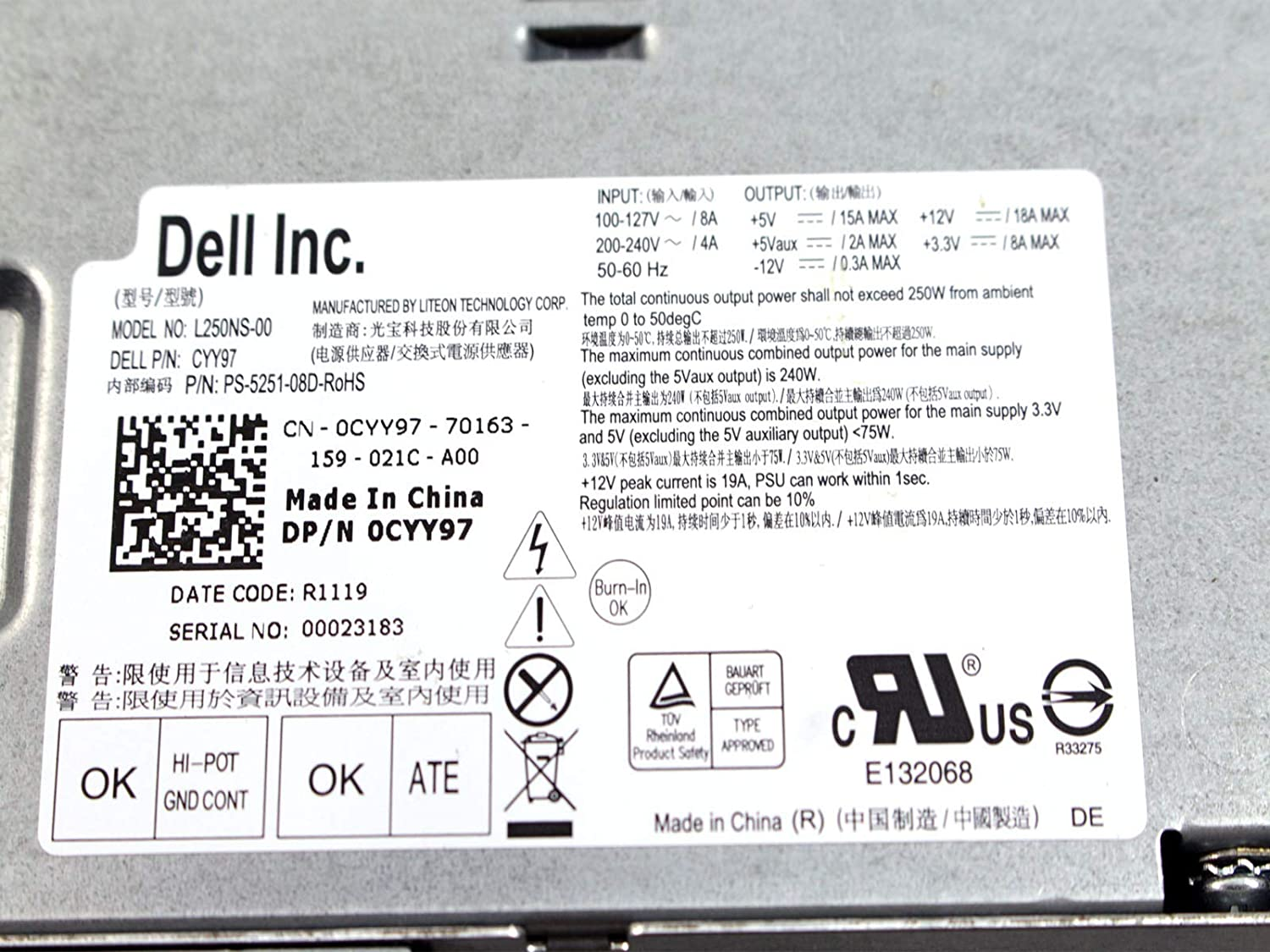 Amazon.com: Genuine Dell 250W Watt CYY97 7GC81 L250NS-00 Power Supply Unit PSU For Inspiron 530s 620s Vostro 200s 220s, Optiplex 390, 790, 990 Desktop DT ...