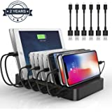 Charging Station 10 Ports USB Dock - 60W Multi-Port Stand Desktop Organizer with Built-in Retractable Cables Charges Multiple Devices for iPad, Samsung, Tablet, Kindle