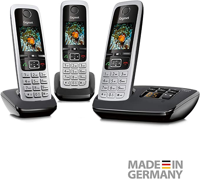 Gigaset C430A Trio - Teléfono (DECT, 50 m, 300 m, Negro, Plata, Wall/Desk, 200 entradas) [Versión Importada]: Amazon.es: Electrónica