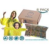 Reusable Rain Ponchos –8 Poncho Family Pack –Extra Thick 0.33 Disposable Rain Poncho -Multiple Use Adults and Children Family Pack Rain Ponchos –Emergency Poncho Rain Ponchos –Drawstring Hoods