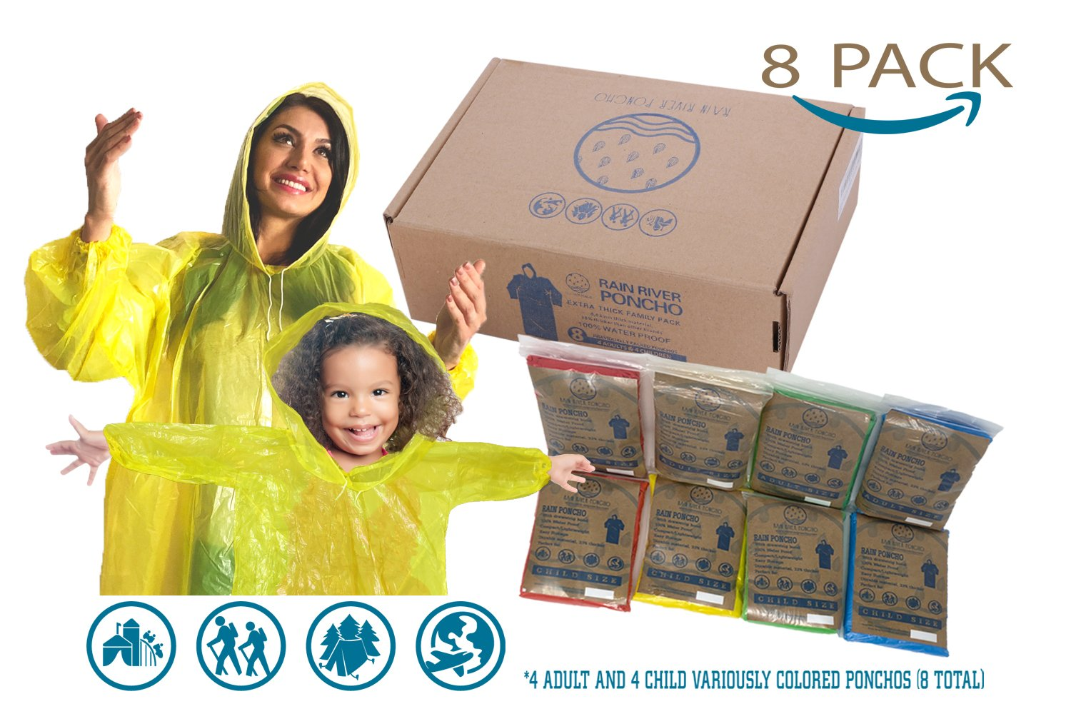 Ponchos Family Pack Rain Poncho - REUSABLE Rain Poncho for Kids Poncho Disposable Disney Poncho for Adults Disposable 8 Rain Poncho Family Pack Pancho