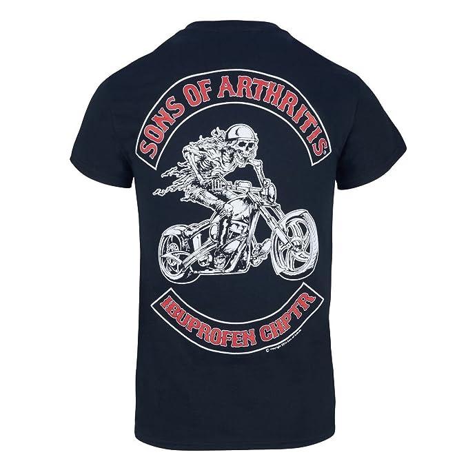 da39f589 Sons of Arthritis Mens Ibuprofen Chapter Short Sleeve Biker T-Shirt Black  (5XL,