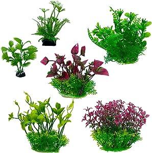 Aquatic Planet 6pcs Artificial Fake Plastic Aquarium Plants Fish Tank Decoration Decor Ornament