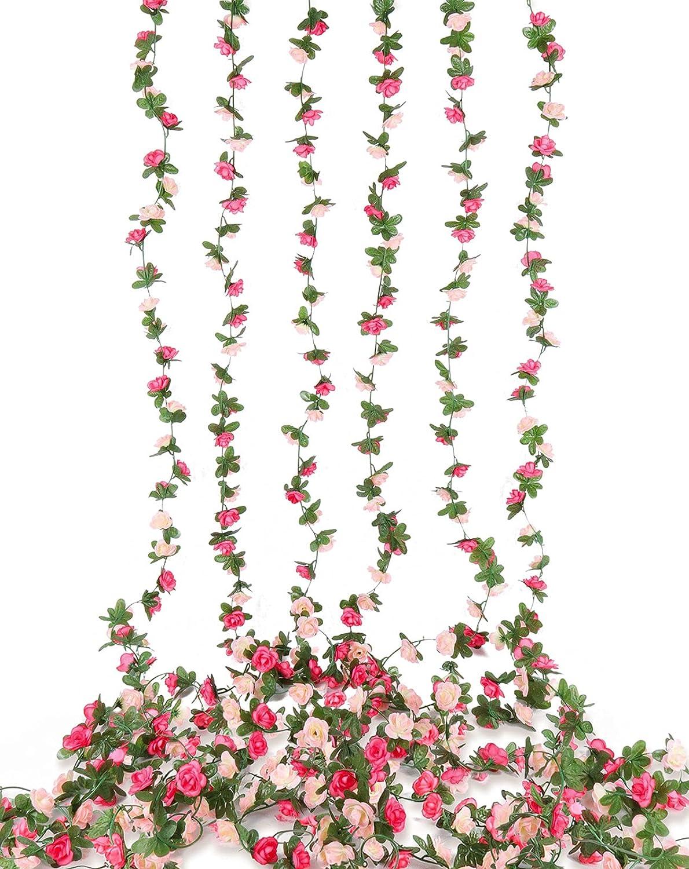 Beferr Artificial Rose Flower Garland, 6Pcs Fake Silk Rose Vine Wall Hanging Roses Flower lvy for Wreath Home Wedding Garden Party Birthday Decor Pink