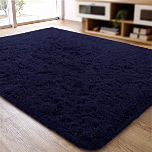ACTCUT Super Soft Indoor Modern Shag Area Silky Smooth Rugs Fluffy Anti-Skid Shaggy Area Rug Dining Living Room Carpet Comfy Bedroom Floor 2.5' x 5' (Navy)