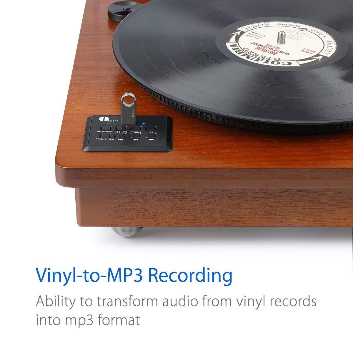im Klassischem Design Naturholz 1 BY ONE Schallplattenspieler Riemengetriebener Wireless Plattenspieler mit Eingebautem Lautsprechern und Vinyl to MP3 Funktion