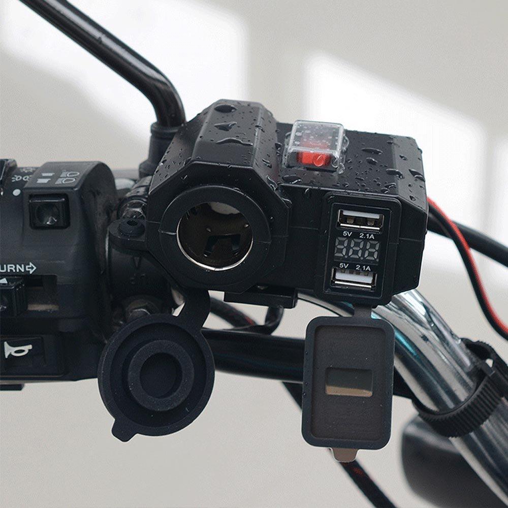YGL Motocicletta Impermeabile Caricatore USB 5 V 2.1A/2.1A Porte USB Doppie 12V Accendisigari per Auto Presa di Corrente con Interruttore di Alimentazione