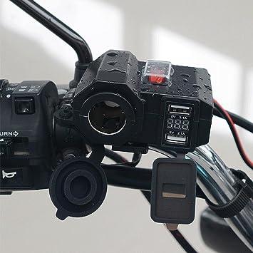YGL Motocicleta Impermeable Cargador USB 5V 2.1A/2.1A Encendedor de Cigarrillos 12V Toma de Corriente con Interruptor de Encendido