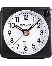 Famicozy Mini Size Alarm Clock, Quiet Non Ticking Travel Alarm Clock with Snooze and Nightlight,Gradually Increasing in Volume,Lightweight Analog Quartz Clock,Battery Operated,Black