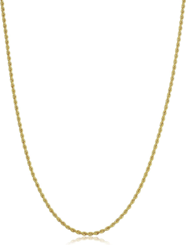 Amazon Com Kooljewelry 10k Yellow Gold Rope Chain Necklace 1 5 Mm 14 Inch Clothing