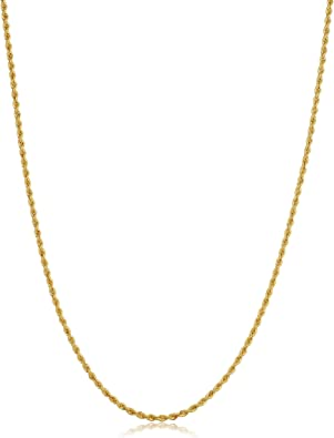 "30/"" Inch 14/"" Yellow 10K Rope Chain Diamond Cut Gold Necklace Men Women 1.8 MM"