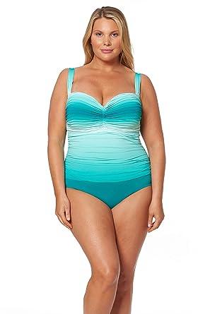 e8e1a4d5c9 Bleu Rod Beattie Women's Plus Size Shirred Bandeau One-Piece Swimsuit  Bathing Suit at Amazon Women's Clothing store: