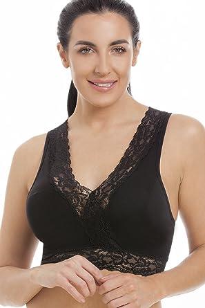 Camille Femme Grossesse Nightwear sous-vêtements en dentelle noire Maternité Dormir Soutien-gorge