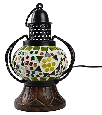 TRUSTFUL Brass Wooden Electric Lamp Hand Made Carved Hanging Lalten (Multicolour)
