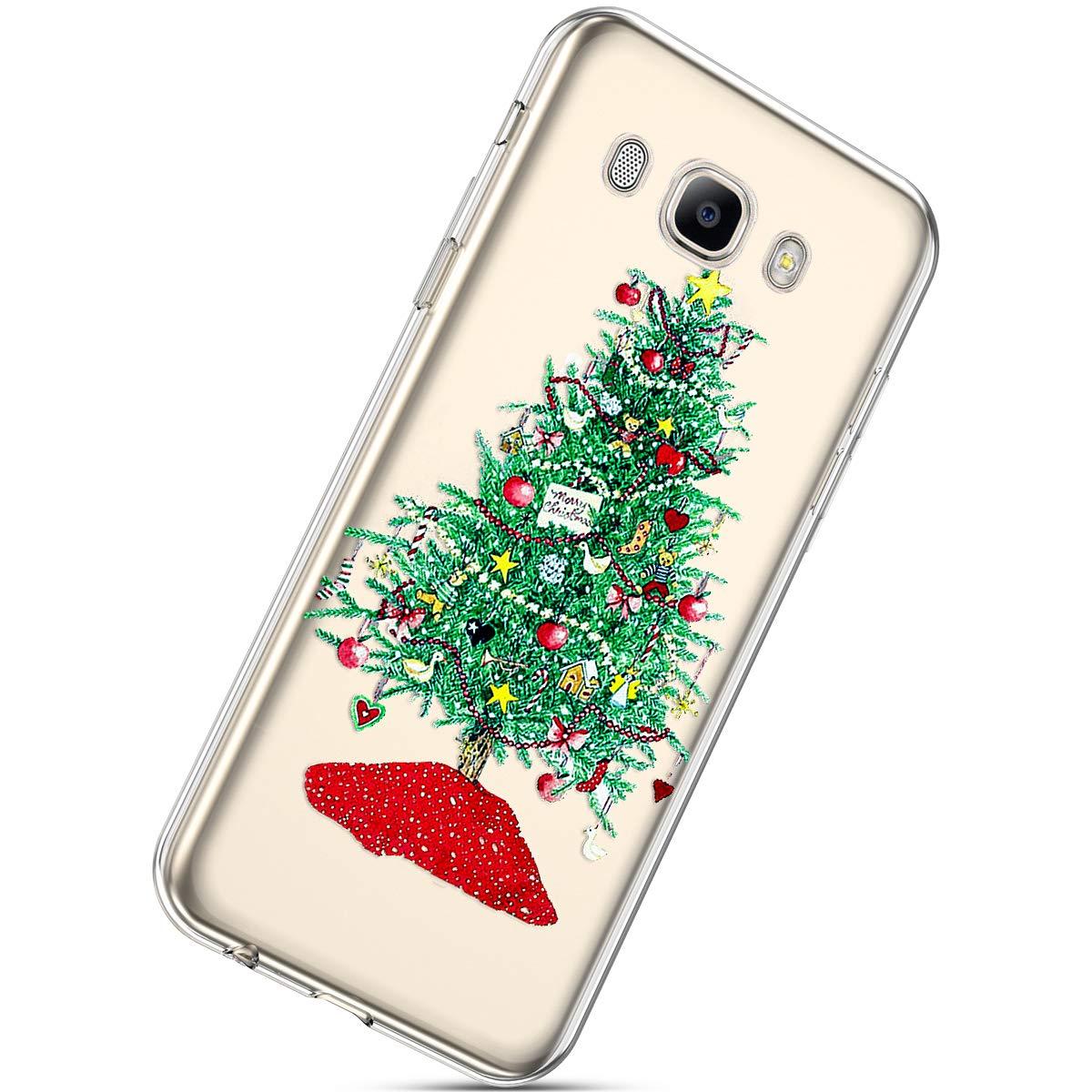Herbests Galaxy J5 2016 Silicone Coque avec Noë l Motif, Ultra Mince Crystal Clear Transparent Silicone Soft TPU Doux Caoutchouc Bumper Anti Choc Hosse Etui Case, Noë l #7 Noël #7 HER005478