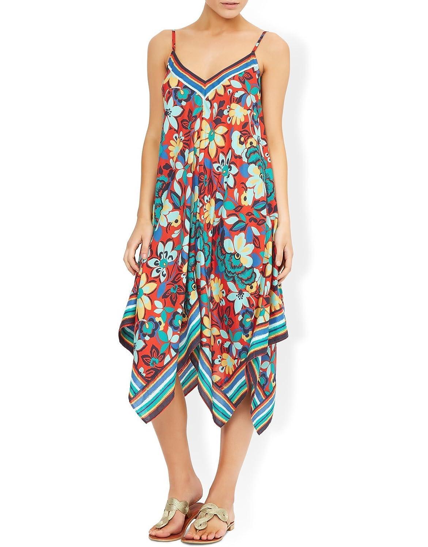 Monsoon Damen Mexikanisches Kleid mit abfallendem Saum und Blumenprint