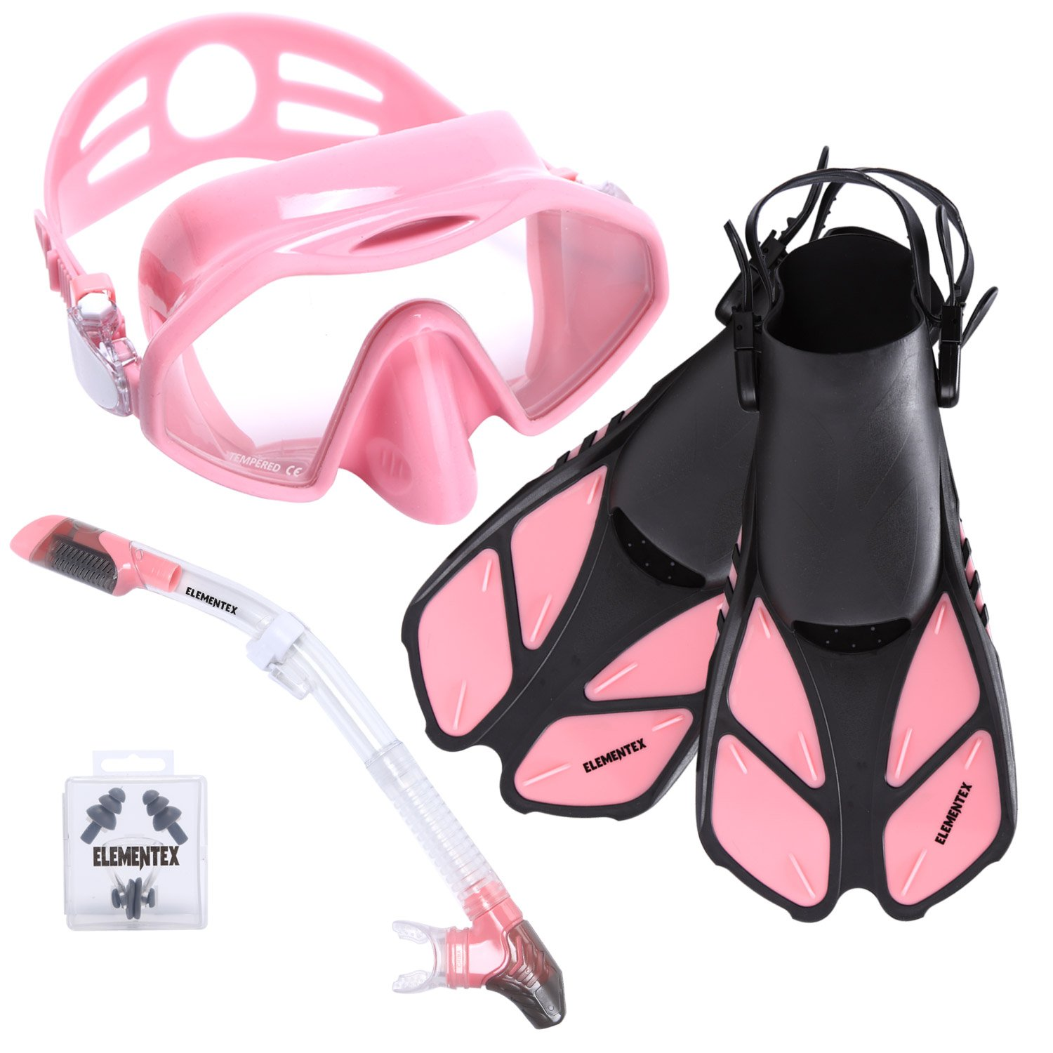 Dry Snorkel Set with Scuba Mask, Fins n Top Valve by ELEMENTEX