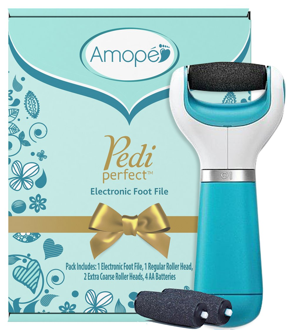 Amope Pedi Perfect Electronic Foot File Value Set - includes 1 Amope callous remover pedicure tool, 1 set of Amope rollerhead refills, and batteries - the perfect birthday beauty gift for her