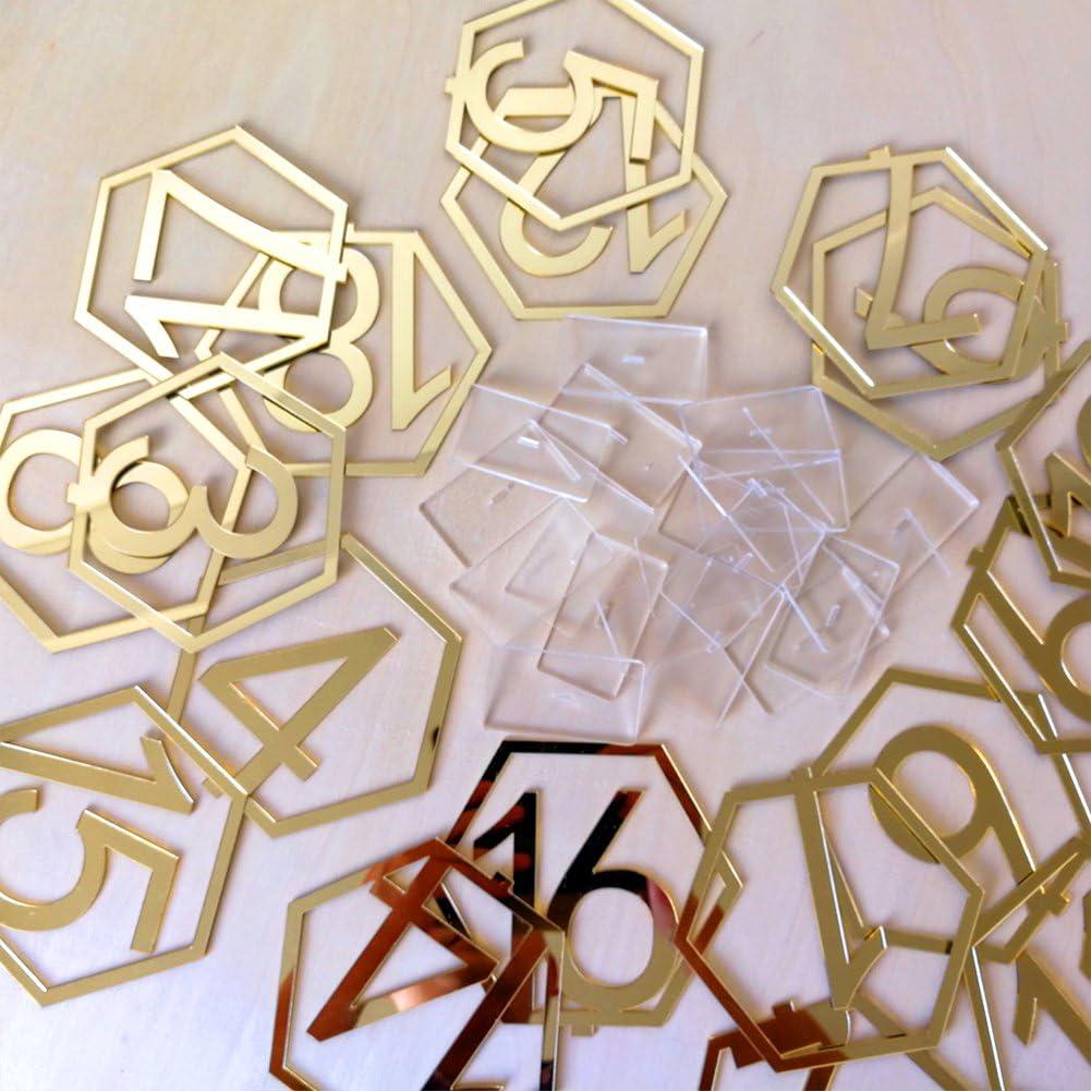 Geometrische Geburtstagsdekoration Nummernschilder sechseckig 9 cm Free Size Gold 1-10