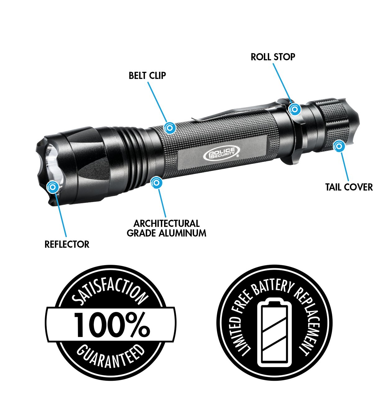 Police Security Knightstick 2AA Ultra Bright Flashlight - Cree LED - 190 Lumen - Tactical - Water Resistant - High/Low/Flash
