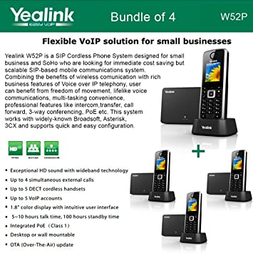 Yealink W52P 5 Line VoIP SIP Cordless Business HD IP DECT Phone w 5 Handsets